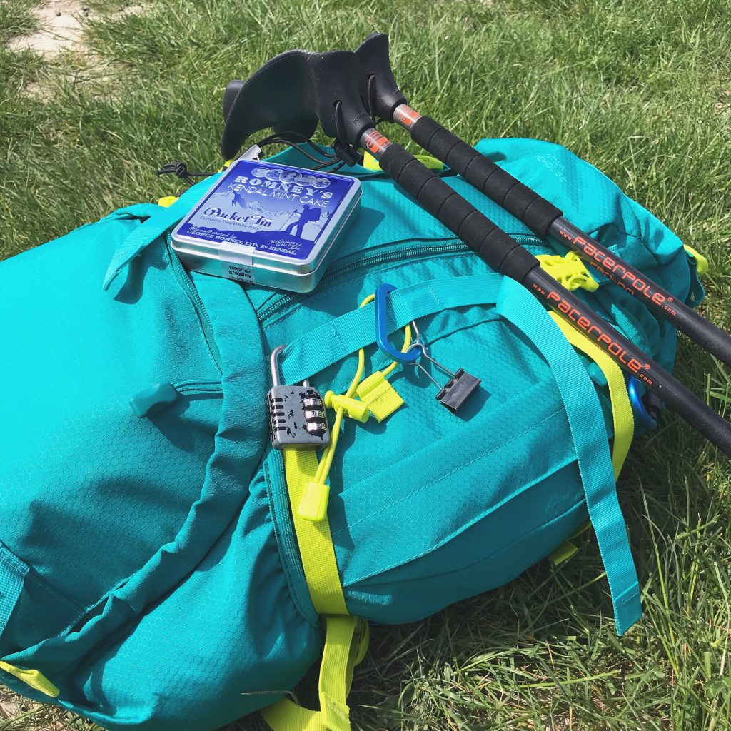 pack, poles & Kendal mint cake