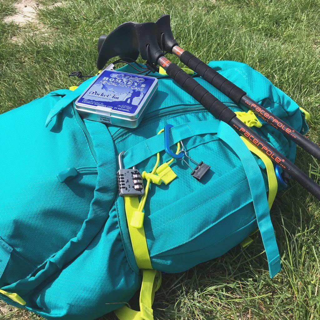pack, poles & Kendal mint cake