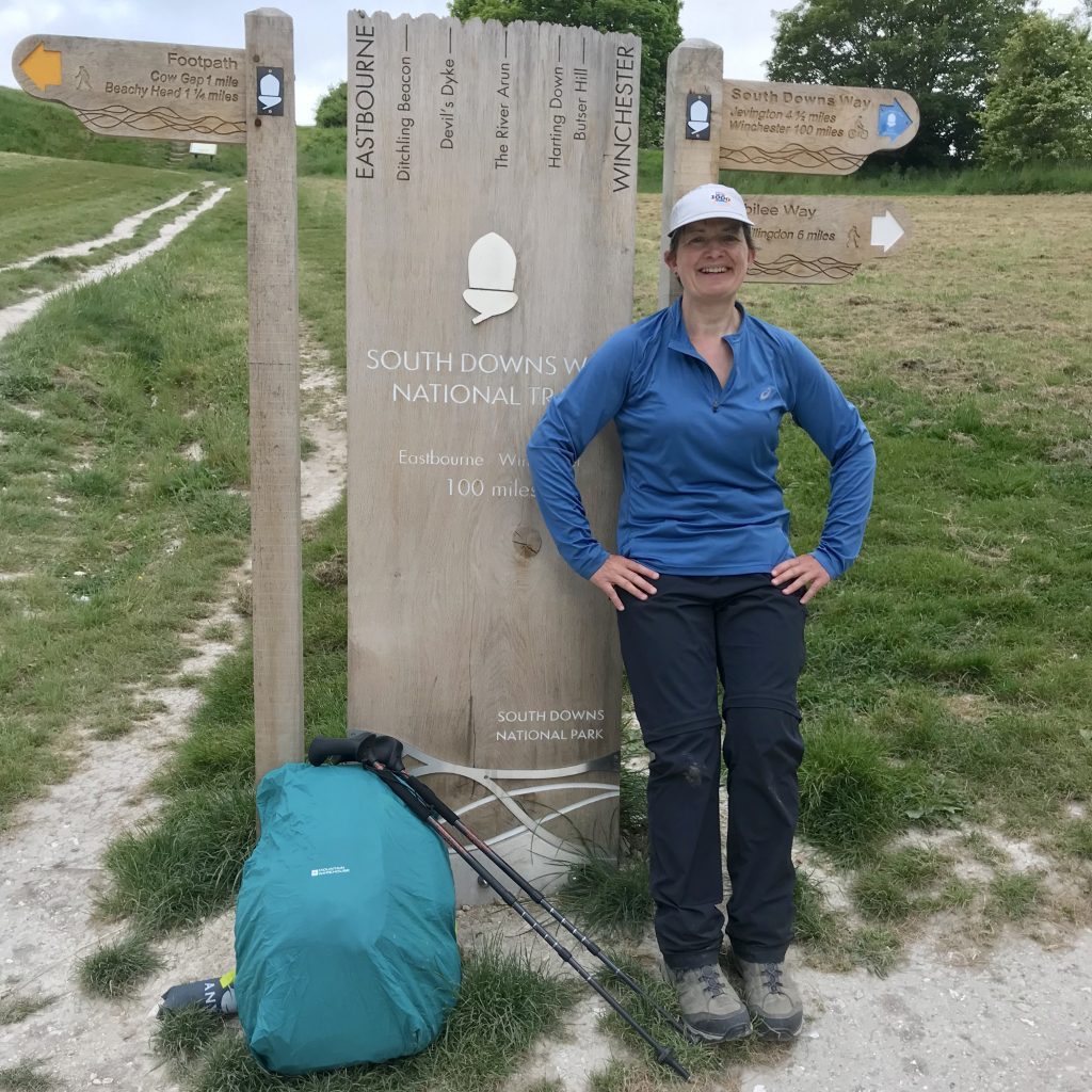 me and my Pacerpoles at the end of the South Downs Way