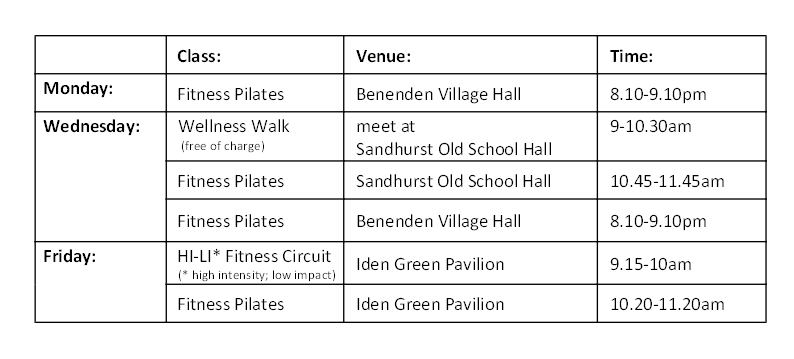 class timetable from November 2019