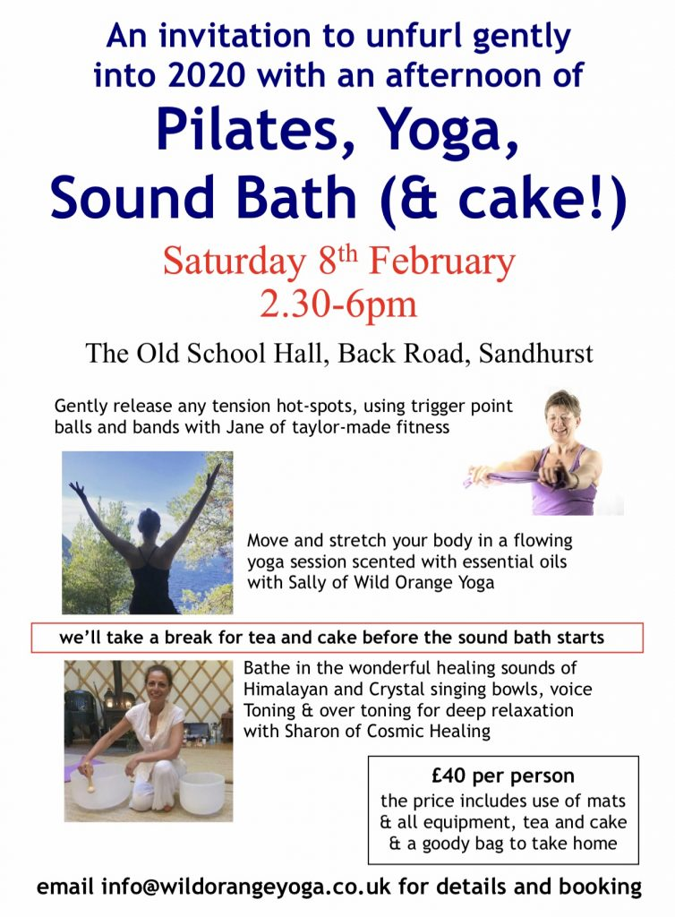 pilates, yoga & sound bath event Saturday 8th February 2020